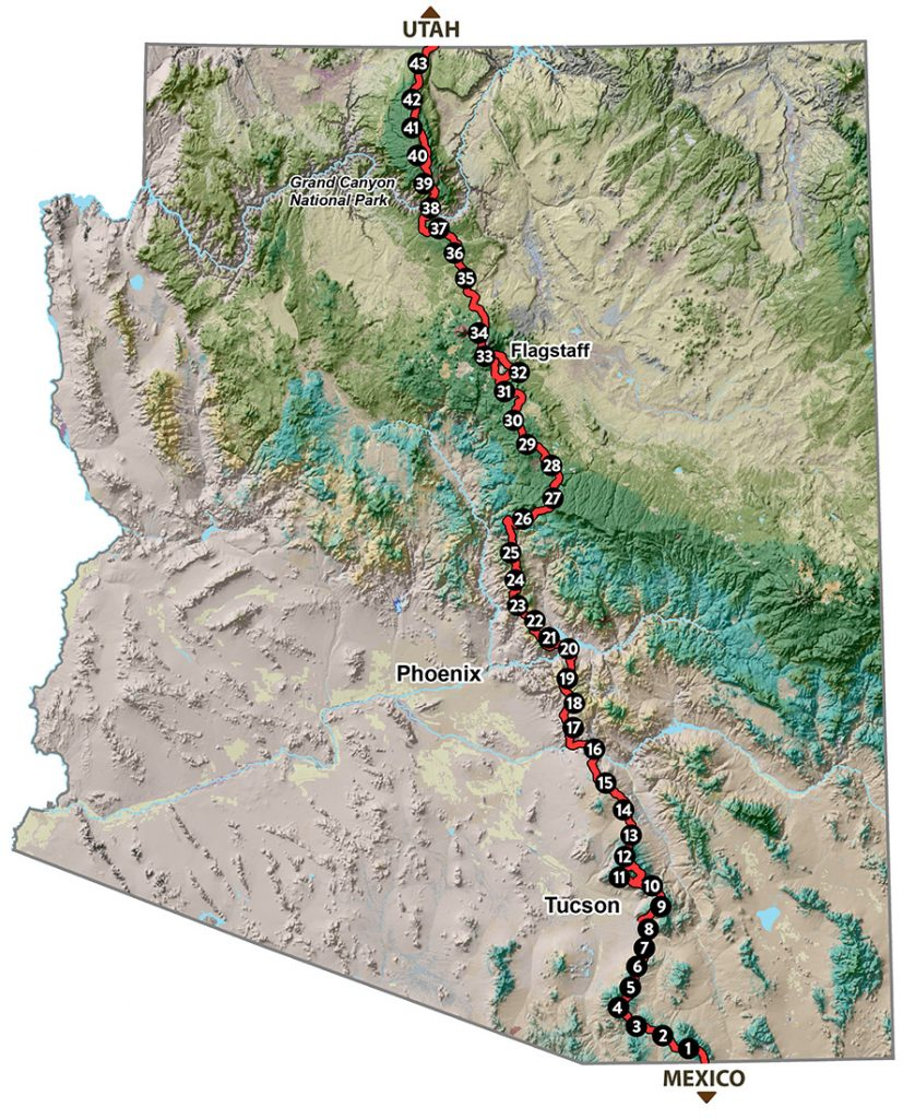 Map Of Young Arizona.Map Of The Trail Explore The Arizona Trail